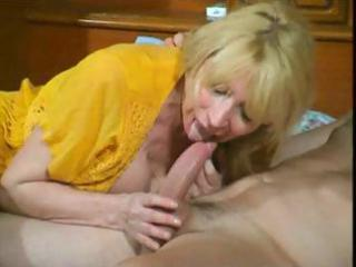 wicked older blond wench eats his tool and