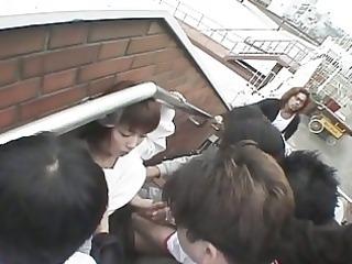 oriental hottie receives obscene facial by group