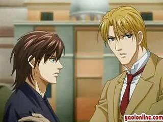 manga boy kiss his boyfriends hand gently