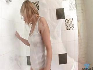 breasty golden-haired bathes in white cotton wife