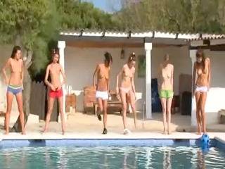 six nude coeds by the pool from russian federation