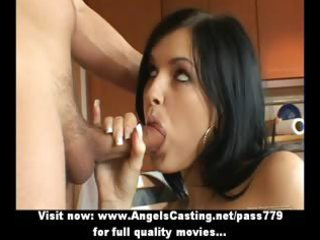 dilettante pleasing dark brown bride doing oral