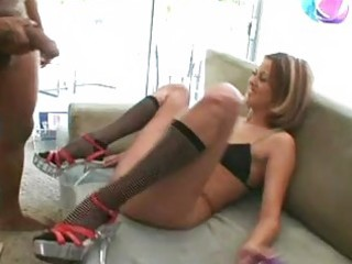 sluty brunette hair in halfhose sucks and licks