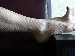 foot tease in fishnet
