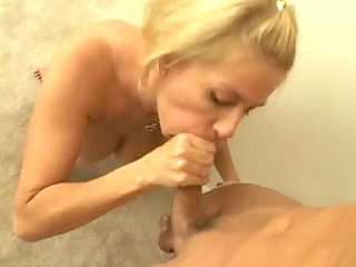 big tit golden-haired blowing a hard cock