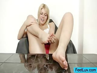 cute golden-haired ruth naked feet show and