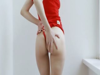 legal age teenager home alone dildoing her