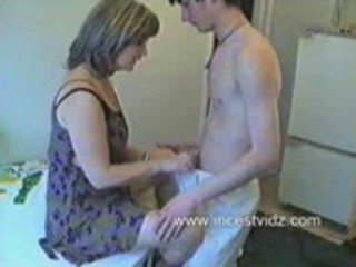 russian mama and son in the kitchen